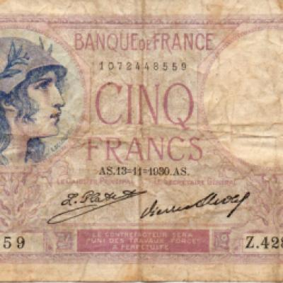 Bank of France 5 Franc note