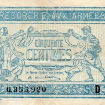 French Army Treasury 50 centimes note
